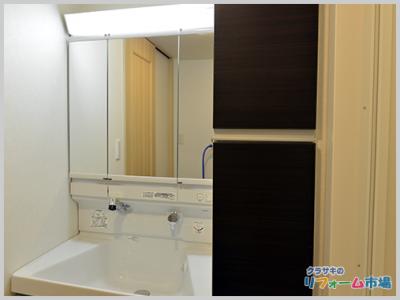 神奈川県藤沢市マンションにて人気のTOTOサクア片引出タイプでの洗面化粧台リフォーム事例
