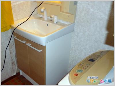 横浜市都筑区戸建てにて人気のLIXILオフトでの洗面化粧台リフォーム事例