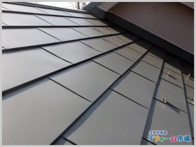 横浜市港北区戸建てコロニアルの屋根からガルバリウム合板への屋根リフォーム事例