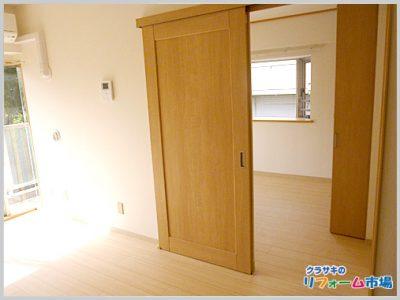 和室から洋室へ変更し、扉も段差をなくした引き戸へリフォーム